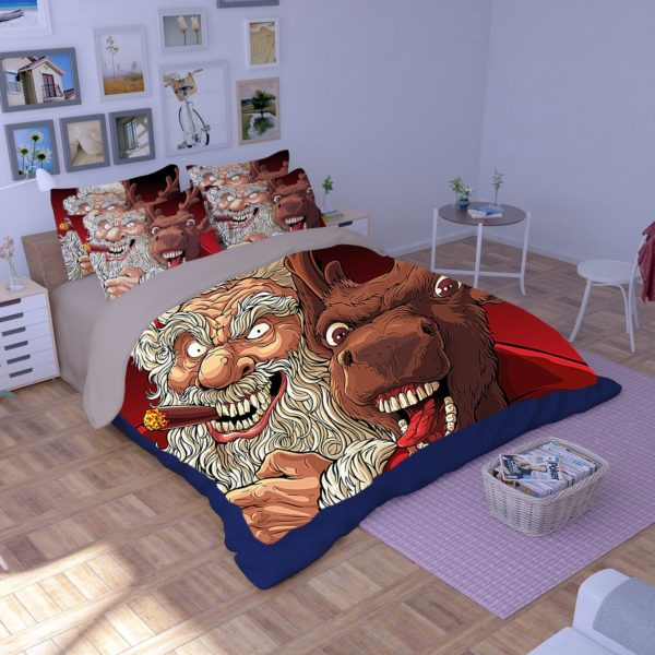 Terrific Horror Santa Claus Reindeer Bedding Set 3