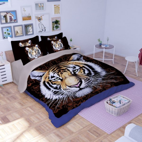Tiger Face Printed Bedding Set 3 600x600 - Tiger Face Printed Bedding Set