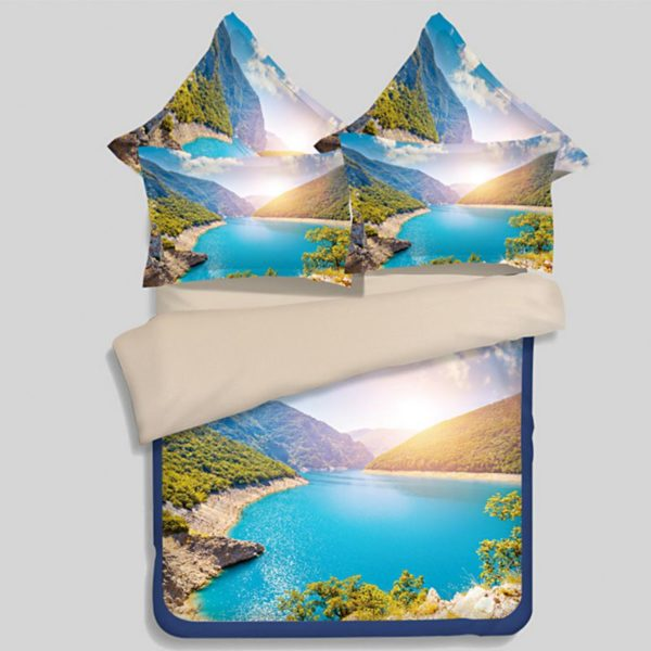 Visually Appealing River And Mountain Bedding Set