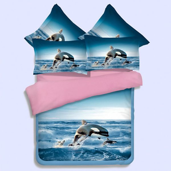 White Flying Horse Pink Blue theamed Bedding Set 1 600x600 - White Flying Horse Pink & Blue theamed Bedding Set