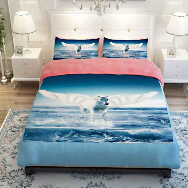 White Flying Horse Pink Blue theamed Bedding Set 2 600x600 - White Flying Horse Pink & Blue theamed Bedding Set