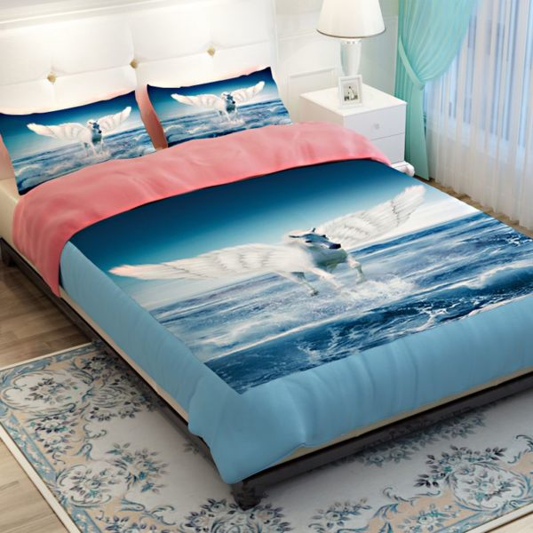 White Flying Horse Pink Blue theamed Bedding Set 3 600x600 - White Flying Horse Pink & Blue theamed Bedding Set
