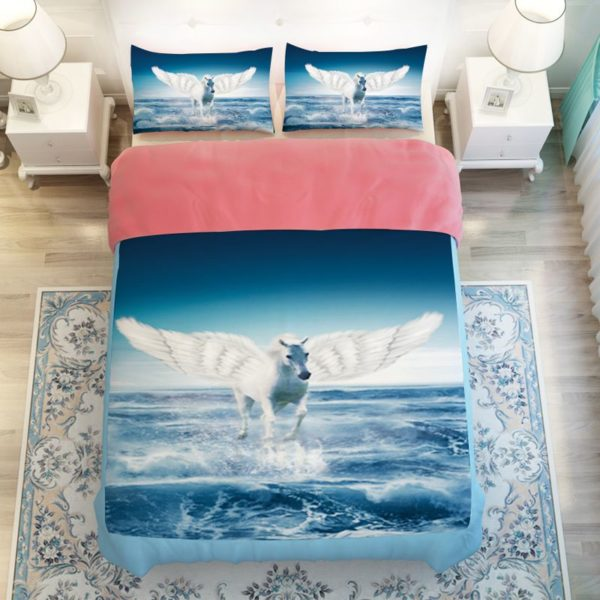 White Flying Horse Pink Blue theamed Bedding Set 4 600x600 - White Flying Horse Pink & Blue theamed Bedding Set