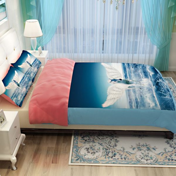 White Flying Horse Pink Blue theamed Bedding Set 5 600x600 - White Flying Horse Pink & Blue theamed Bedding Set