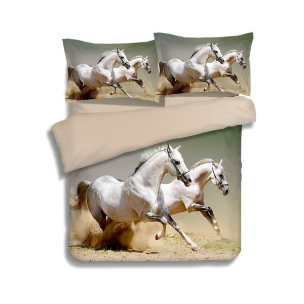 White Horses Running Printed Bedding Set 1 600x600 - White Horses Running Printed Bedding Set