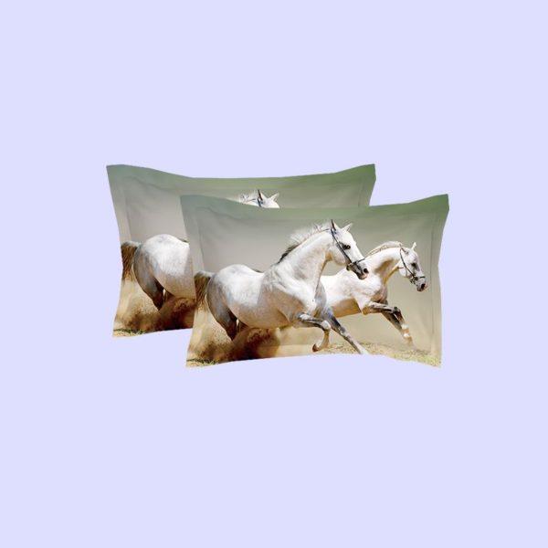 White Horses Running Printed Bedding Set 4 600x600 - White Horses Running Printed Bedding Set