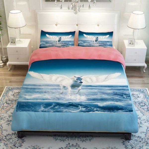 White Pegasus Horse Flying Over The Sea Bedding Set 2 600x600 - White Pegasus Horse Flying Over The Sea Bedding Set