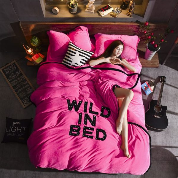 Victorias Secret Flannel Warm Embroidery Bedding FKAL PINK 1