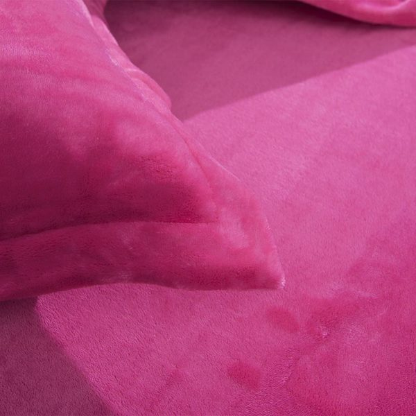 Victorias Secret Flannel Warm Embroidery Bedding FKAL PINK 6