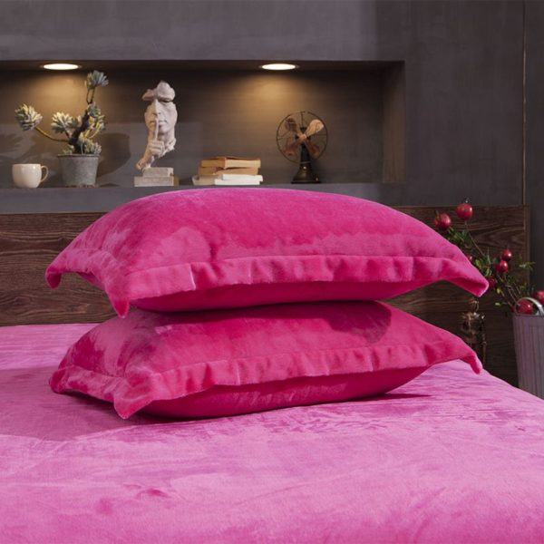 Victorias Secret Flannel Warm Embroidery Bedding FKAL PINK 8
