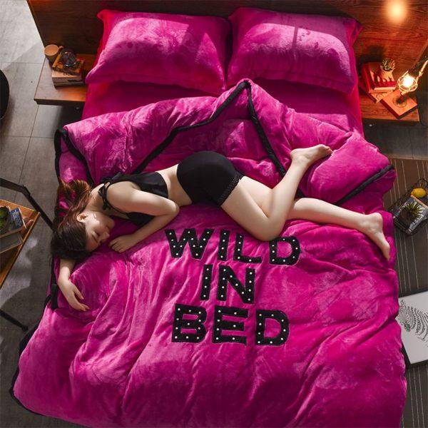 Victorias Secret Flannel Warm Embroidery Bedding FKAL ROSE RED 2