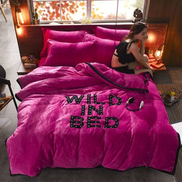Victorias Secret Flannel Warm Embroidery Bedding FKAL ROSE RED 3