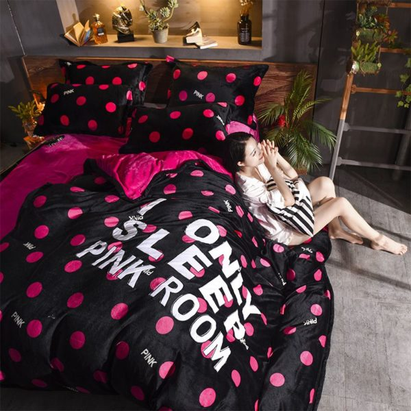 Victorias Secret Flannel Warm Embroidery Bedding LSMD DOT 9