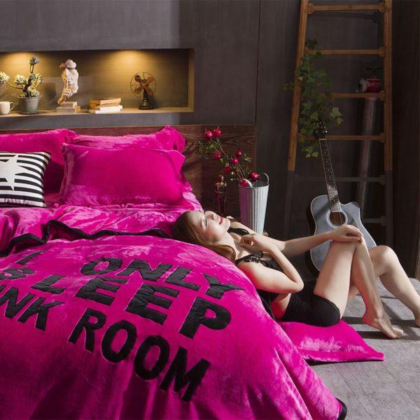 Victorias Secret Flannel Warm Embroidery Bedding LSMD ROSE 5