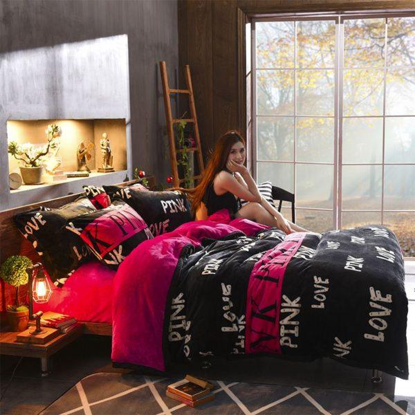 Victorias Secret Flannel Warm Printing Bedding Set HX 3