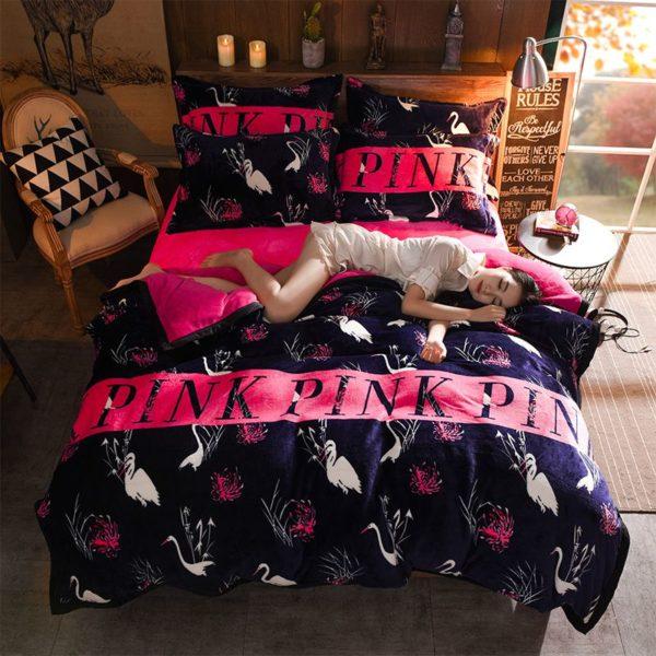 Victorias Secret Flannel Warm Printing Bedding Set SH 1 600x600 - Victoria's Secret Flannel Warm Printing Bedding Set SH