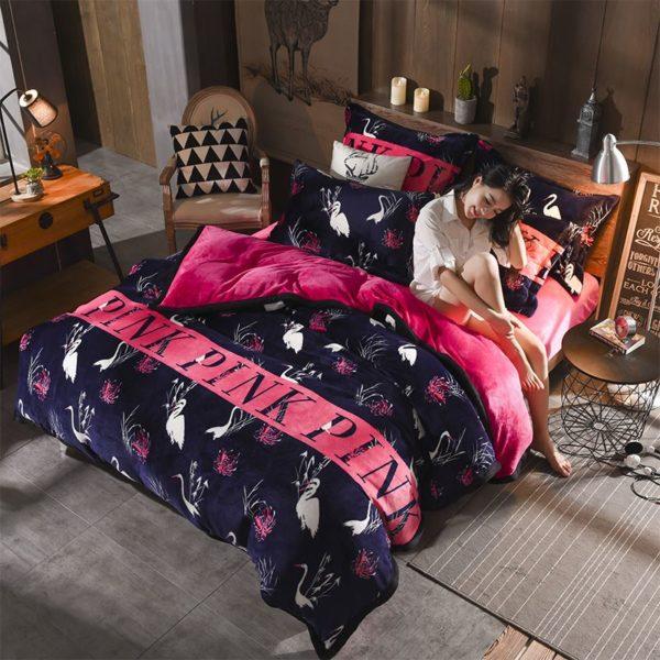 Victorias Secret Flannel Warm Printing Bedding Set SH 11 600x600 - Victoria's Secret Flannel Warm Printing Bedding Set SH