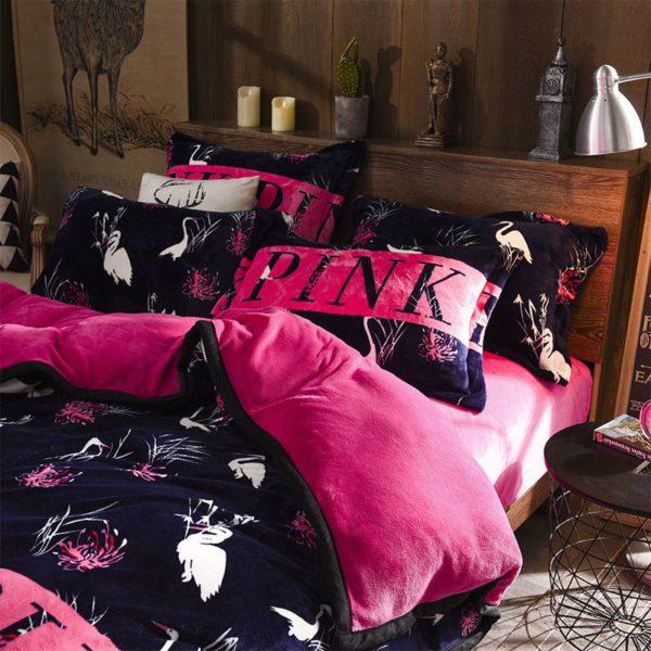Victorias Secret Flannel Warm Printing Bedding Set SH 5