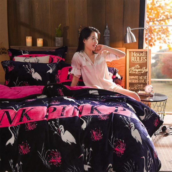 Victorias Secret Flannel Warm Printing Bedding Set SH 6