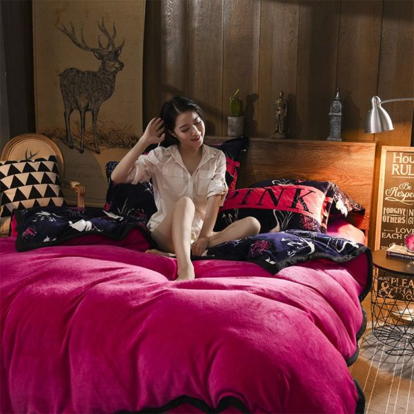 Victorias Secret Flannel Warm Printing Bedding Set SH 7