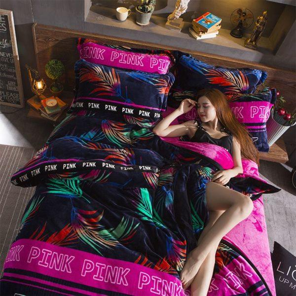 Victorias Secret Flannel Warm Printing Bedding Set YY 5 600x600 - Victoria's Secret Flannel Warm Printing Bedding Set YY