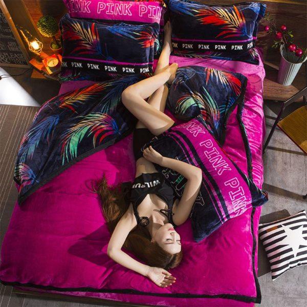 Victorias Secret Flannel Warm Printing Bedding Set YY 7 600x600 - Victoria's Secret Flannel Warm Printing Bedding Set YY