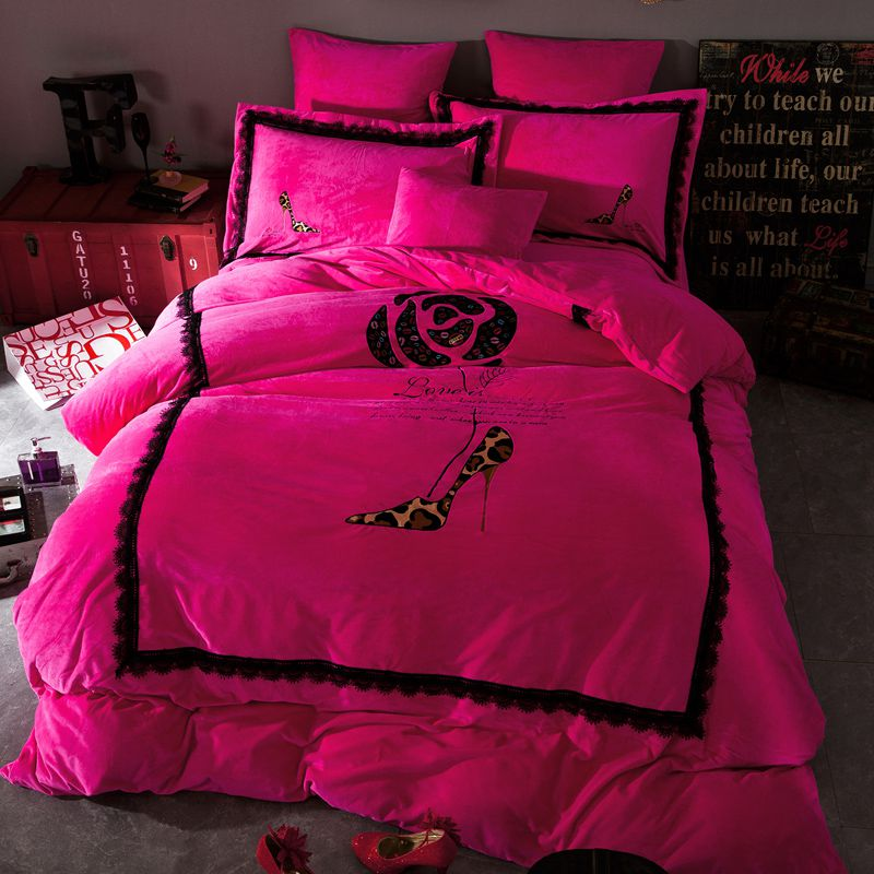 Victoria S Secret Velvet Warm Lace Embroidery Bedding Set