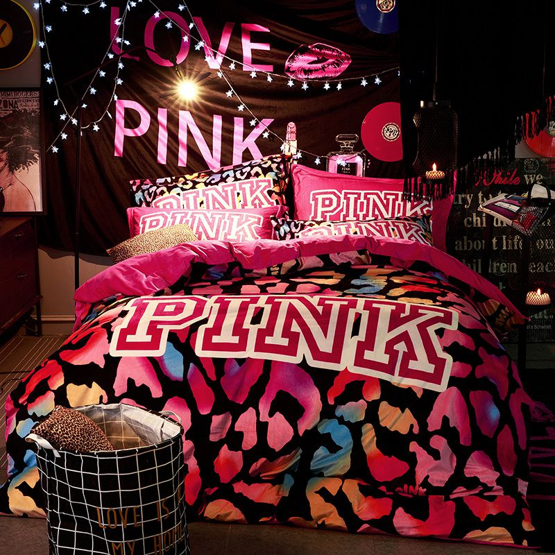 Victoria S Secret Velvet Warm Pink Printing Bedding Set Bb