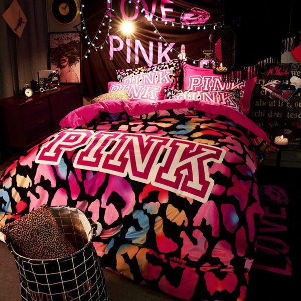 Victorias Secret Velvet Warm Pink Printing Bedding Set BB 2 600x600 - Victoria's Secret Velvet Warm Pink Printing Bedding Set BB