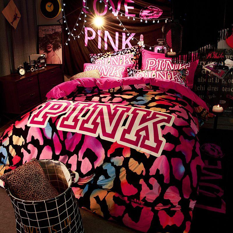 victoria's secret velvet warm pink printing bedding set bb