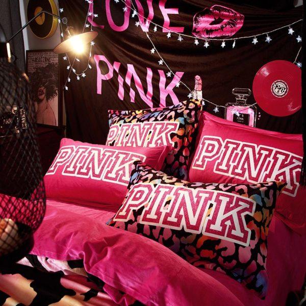 Victorias Secret Velvet Warm Pink Printing Bedding Set BB 3 600x600 - Victoria's Secret Velvet Warm Pink Printing Bedding Set BB