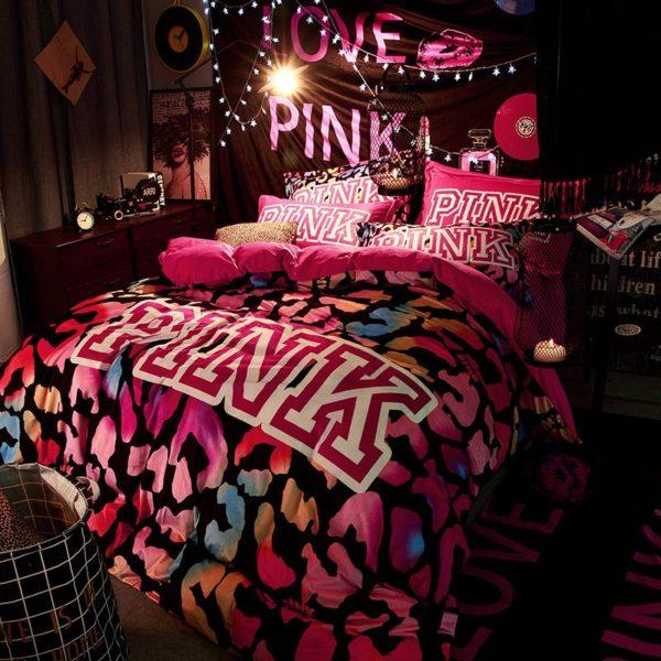 Victorias Secret Velvet Warm Pink Printing Bedding Set BB 5 600x600 - Victoria's Secret Velvet Warm Pink Printing Bedding Set BB