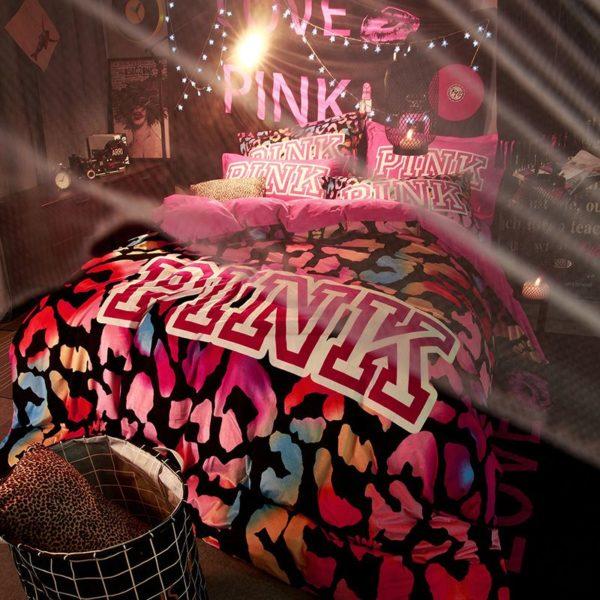 Victorias Secret Velvet Warm Pink Printing Bedding Set BB 6 600x600 - Victoria's Secret Velvet Warm Pink Printing Bedding Set BB