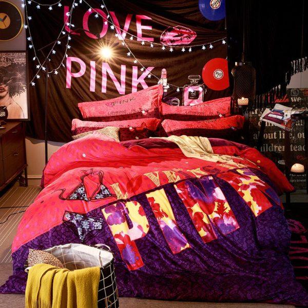Victorias Secret Velvet Warm Pink Printing Bedding Set BQEY 6 600x600 - Victoria's Secret Velvet Warm Pink Printing Bedding Set BQEY