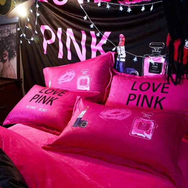 Victorias Secret Velvet Warm Pink Printing Bedding Set FMH 3 600x600 - Victoria's Secret Velvet Warm Pink Printing Bedding Set FMH