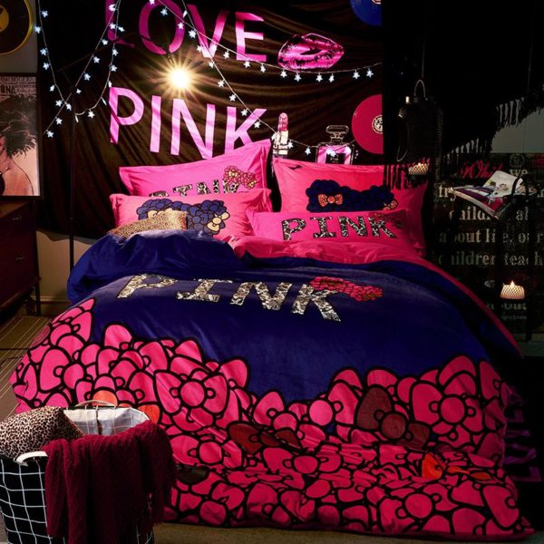 Victorias Secret Velvet Warm Pink Printing Bedding Set JC 1 600x600 - Victoria's Secret Velvet Warm Pink Printing Bedding Set JC
