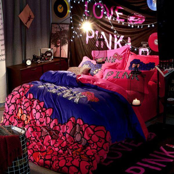 Victorias Secret Velvet Warm Pink Printing Bedding Set JC 5 600x600 - Victoria's Secret Velvet Warm Pink Printing Bedding Set JC