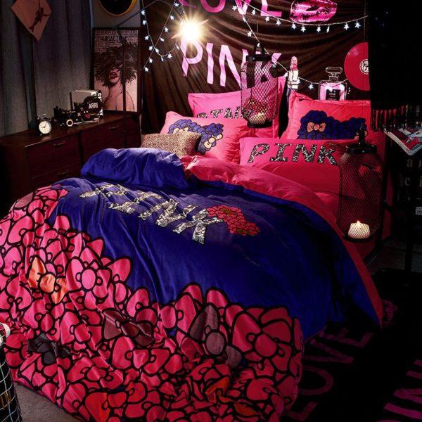 Victorias Secret Velvet Warm Pink Printing Bedding Set JC 6 600x600 - Victoria's Secret Velvet Warm Pink Printing Bedding Set JC