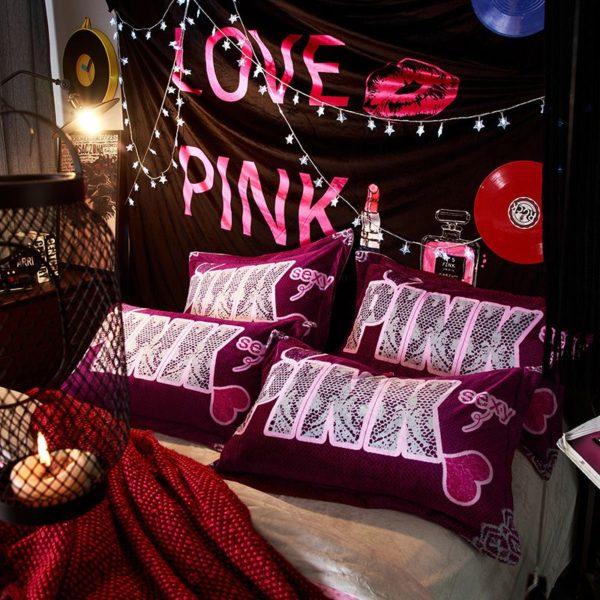 Victorias Secret Velvet Warm Pink Printing Bedding Set LRWM 2
