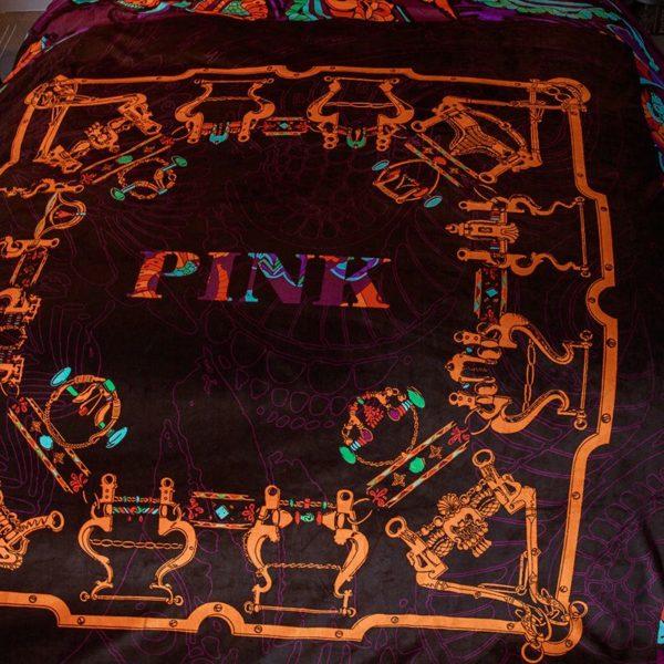 Victoria's Secret Velvet Warm Pink Printing Bedding Set LY