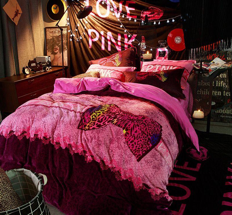 Victoria S Secret Velvet Warm Pink Printing Bedding Set Ty Ebeddingsets