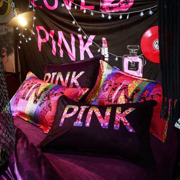 Victorias Secret Velvet Warm Pink Printing Bedding Set XL 3 600x600 - Victoria's Secret Velvet Warm Pink Printing Bedding Set XL