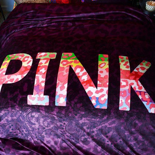 Victorias Secret Velvet Warm Pink Printing Bedding Set XL 7 600x600 - Victoria's Secret Velvet Warm Pink Printing Bedding Set XL