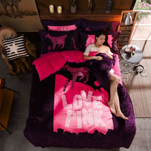 Victorias Secret Velvet Warm Pink Printing Bedding Set ZM 1
