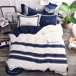 Attractive Royal Blue White Stripe Embroidery Bedding Set 1