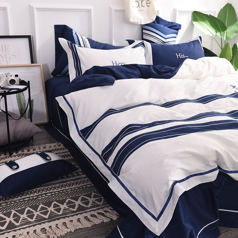 Attractive Royal Blue White Stripe Embroidery Bedding Set Ebeddingsets