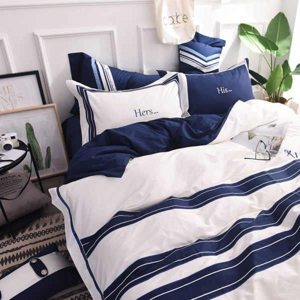 Attractive Royal Blue White Stripe Embroidery Bedding Set 4 600x600 - Attractive Royal Blue & White Stripe Embroidery Bedding Set