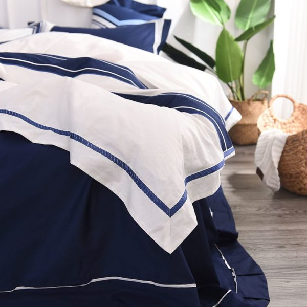 Attractive Royal Blue White Stripe Embroidery Bedding Set 5 600x600 - Attractive Royal Blue & White Stripe Embroidery Bedding Set