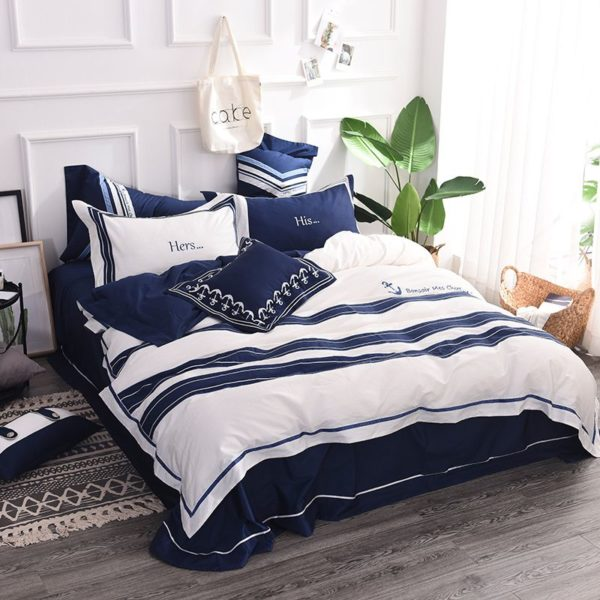 Attractive Royal Blue White Stripe Embroidery Bedding Set 6 600x600 - Attractive Royal Blue & White Stripe Embroidery Bedding Set