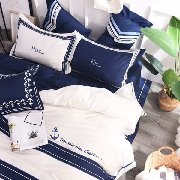Attractive Royal Blue White Stripe Embroidery Bedding Set 7 600x600 - Attractive Royal Blue & White Stripe Embroidery Bedding Set